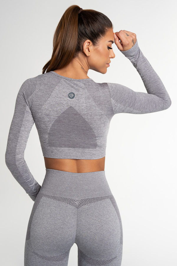 Gym Glamour Crop Top Bezešvý Fusion Light Grey, L - 2