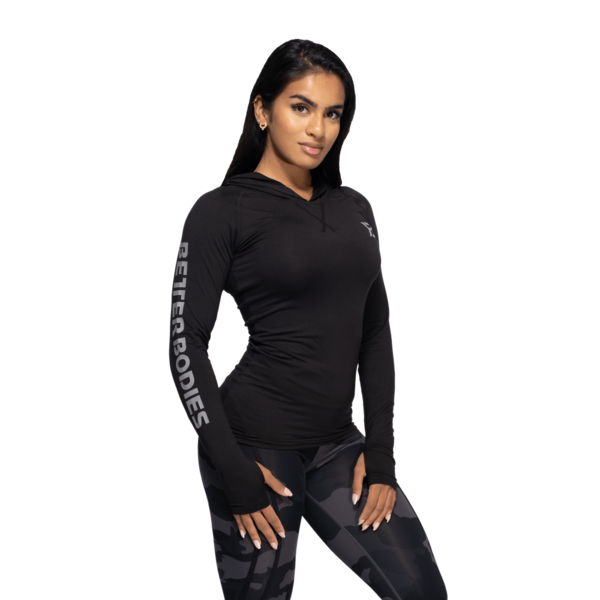 Better Bodies Tričko Performance Long Sleeve Hood Black and Grey, S - 2