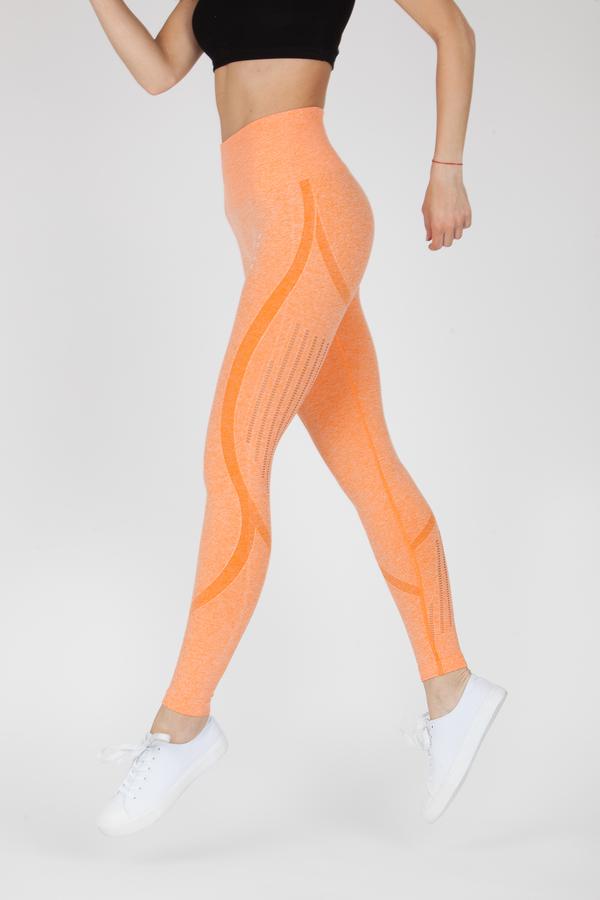 Naine 4.0. Bezešvé Legíny Stripes - Orange, S - 2