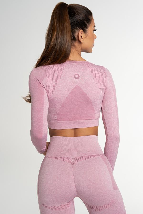 Gym Glamour Crop Top Bezešvý Fusion Pink, L - 2