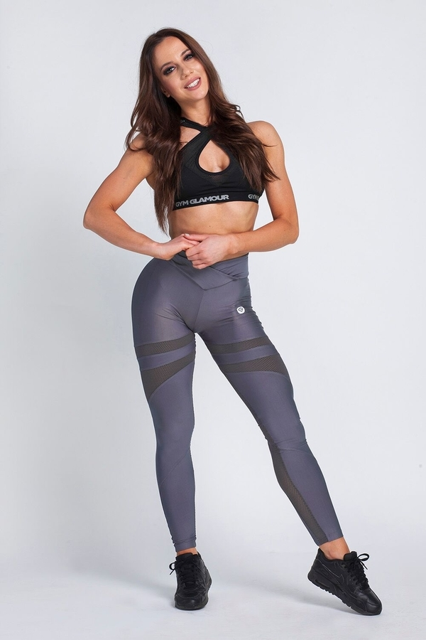 Gym Glamour Legíny Granite Grey Mesh, XS - 2