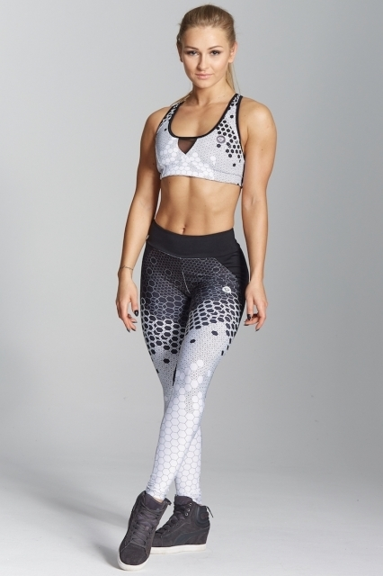 Gym Glamour Legíny White Honey Combs, XS - 2