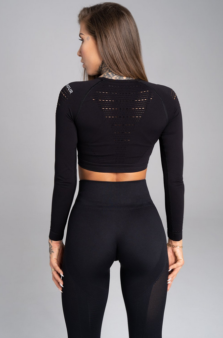Gym Glamour Crop-Top All Black, XS - 2