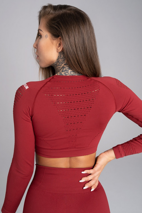 Gym Glamour Crop-Top Bordo - 2