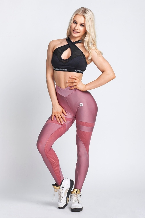 Gym Glamour Legíny Dirty Pink Mesh, XS - 2