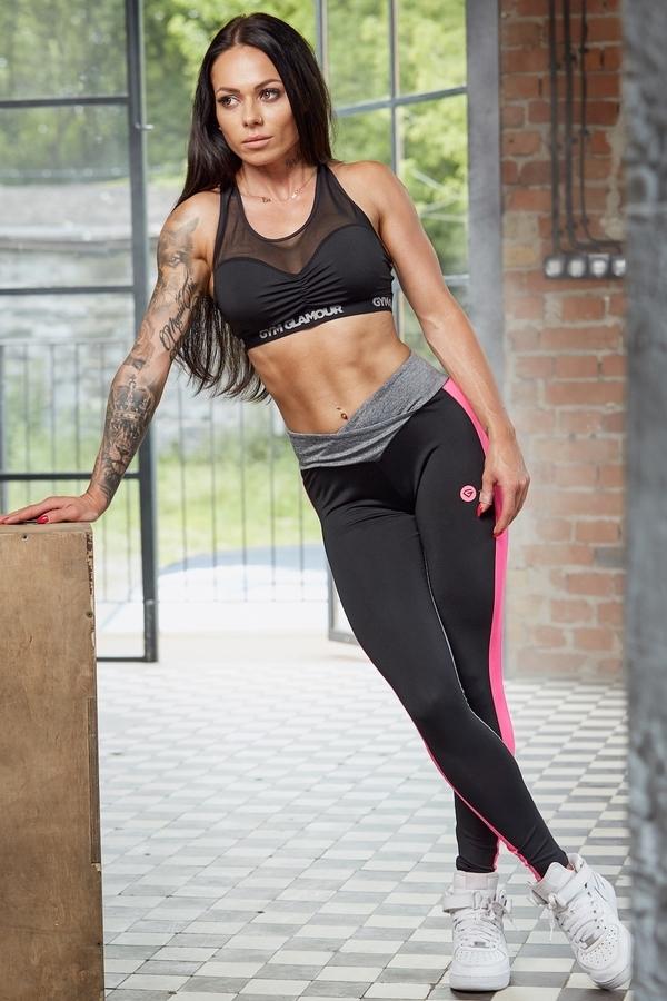 Legíny Gym Glamour S Pink Fluo Pruhem, M - 2