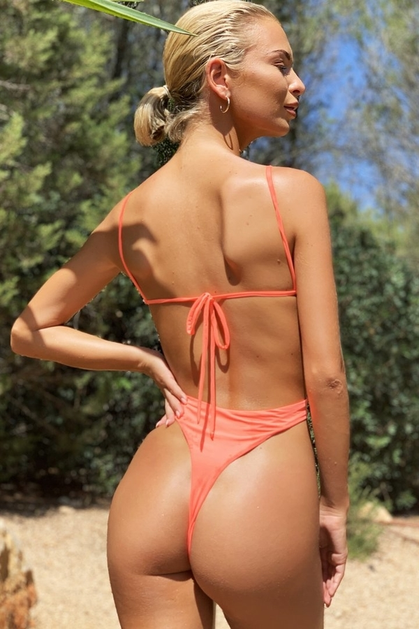 Hugz Plavky Malibu Plunge Swimsuit Orange - 2