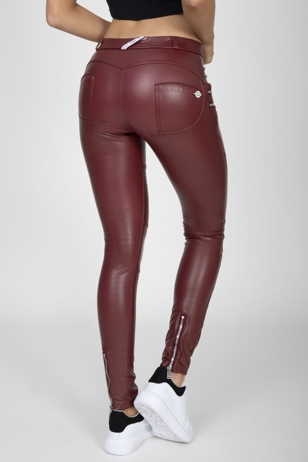 Hugz Wine Faux Leather Biker Mid Waist, S - 2