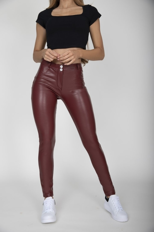 Hugz Wine Faux Leather Mid Waist, XL - 2