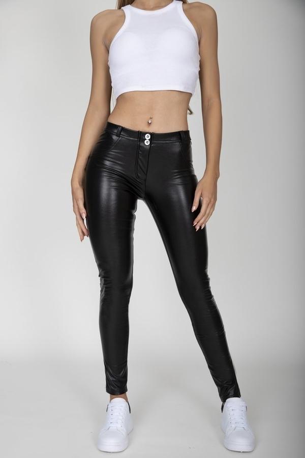 Hugz Black Faux Leather Mid Waist, M - 2