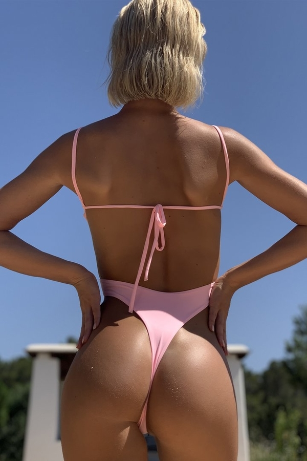 Hugz Plavky Malibu Plunge Swimsuit Blush, S - 2