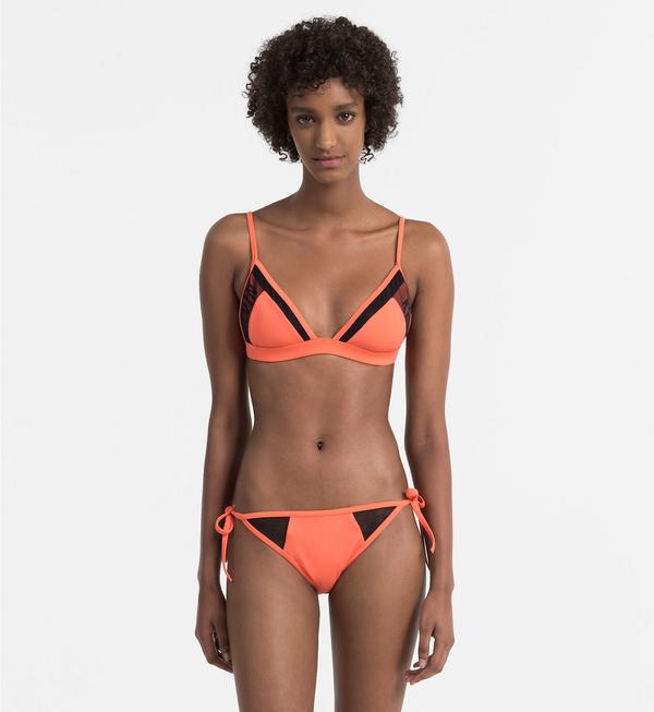 Calvin Klein Plavky Triangle Hot Coral Vrchní Díl, M - 3