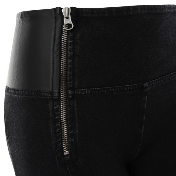 Freddy Jeans Černý Denim S Koženými Detaily Vysoký Pas, M - 3