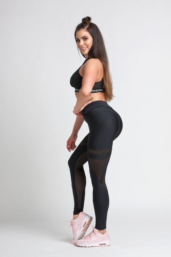 Gym Glamour Legíny Black Mesh, M - 3