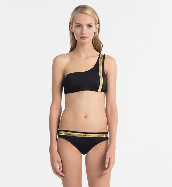 Calvin Klein Plavky One Shoulder Black&Gold Vrchní Díl, S - 3