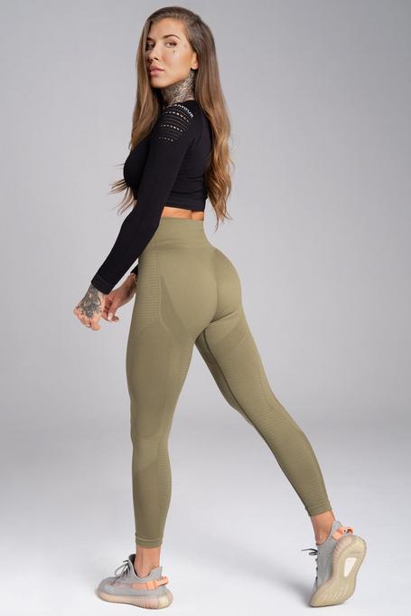 Gym Glamour Legíny Bezešvé Combat Khaki, S - 3