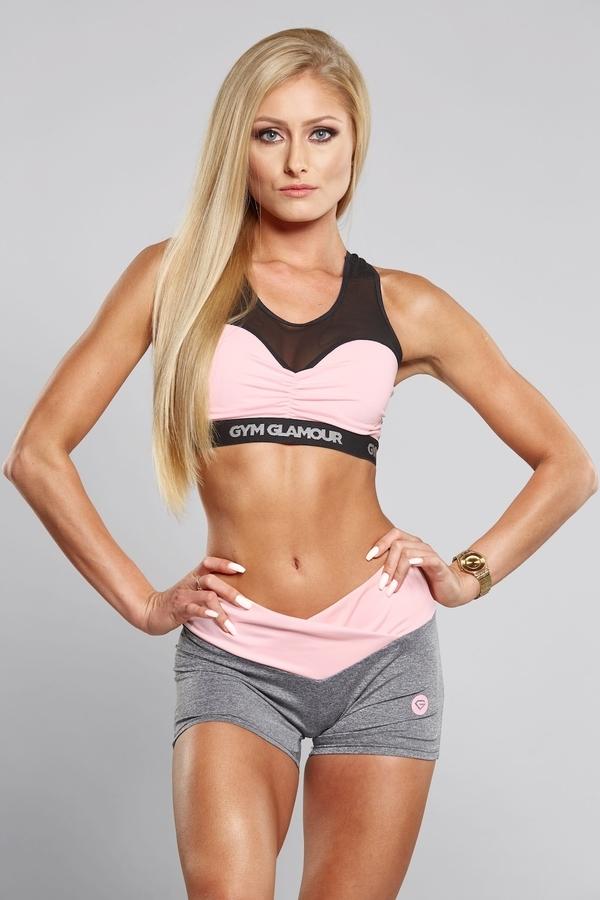 Gym Glamour Kraťásky Grey & Pink - 3