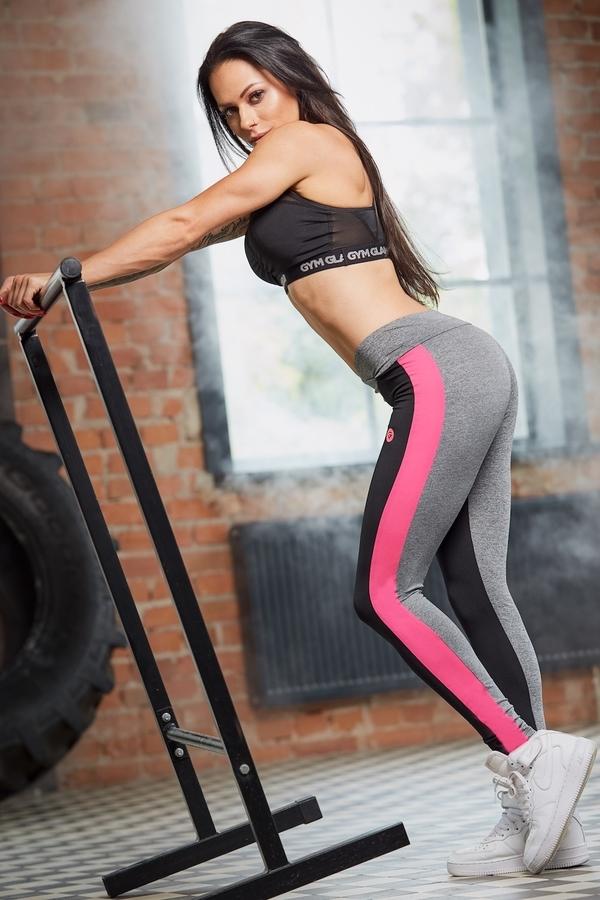 Legíny Gym Glamour S Pink Fluo Pruhem, M - 3