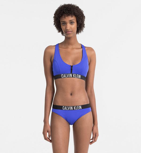 Calvin Klein Plavky Zip Intense Power Modré Vrchní Díl, M - 3