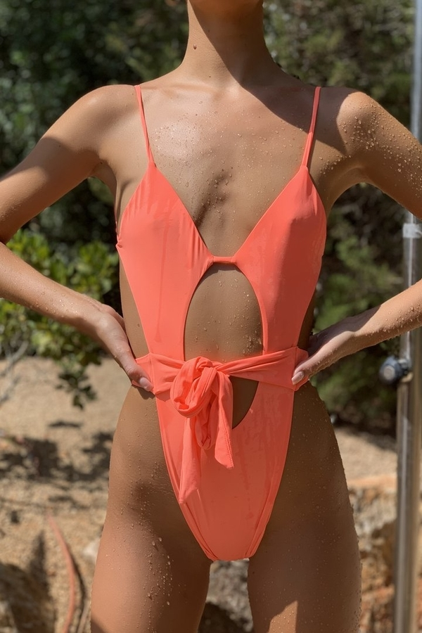 Hugz Plavky Malibu Plunge Swimsuit Orange, M - 3