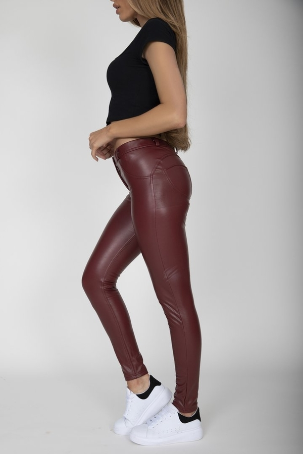 Hugz Wine Faux Leather Mid Waist, XL - 3