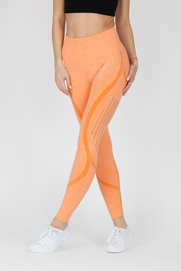 Naine 4.0. Bezešvé Legíny Stripes - Orange, L - 4