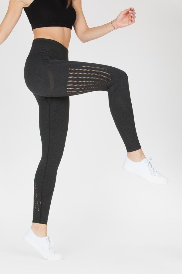 Naine 4.0. Bezešvé Legíny Stripes - Black, S - 4