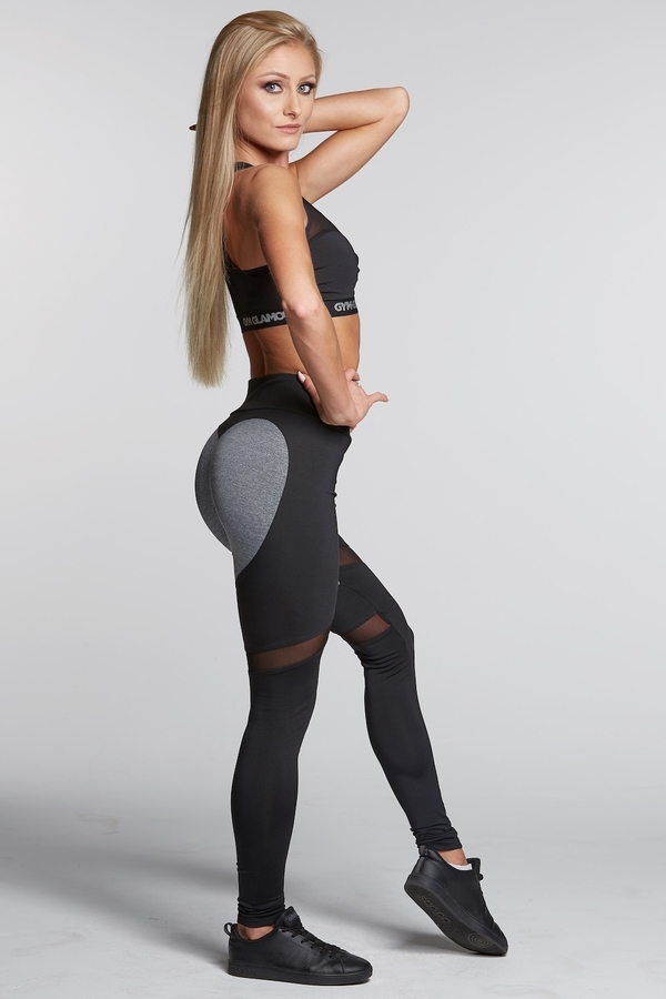 Legíny Gym Glamour Black And Grey Heart, S - 4