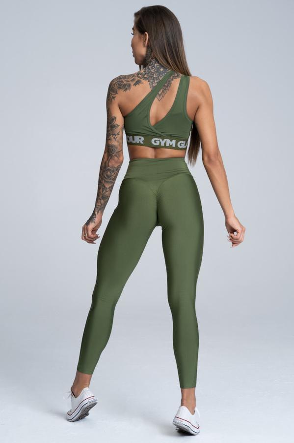 Gym Glamour Legíny High Waist Khaki, M - 4