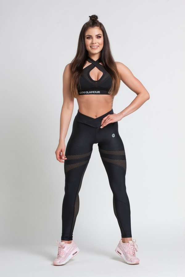 Gym Glamour Legíny Black Mesh, M - 4