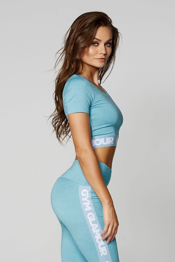 Gym Glamour Crop-Top Azure, M - 4