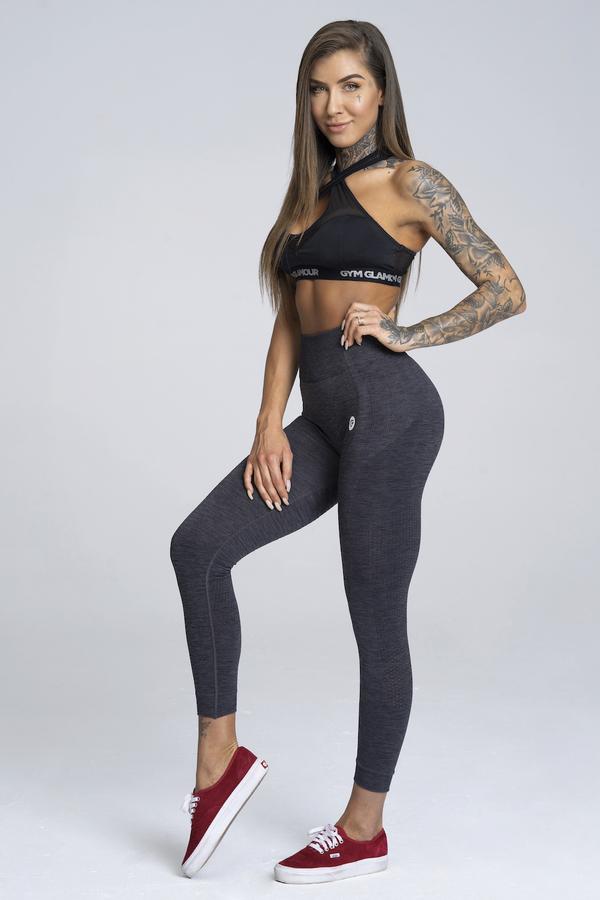 Gym Glamour Legíny Bezešvé Grey Melange, M - 4