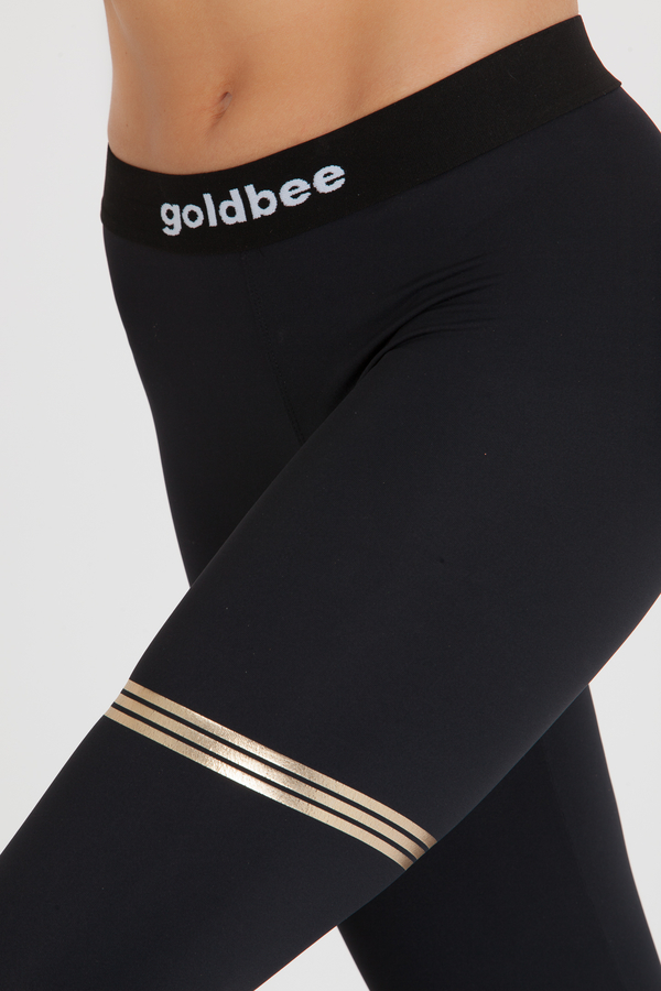 GoldBee Legíny BeStripe Black&Gold, L - 4