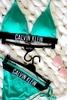 Calvin Klein Plavky Cheeky String Side Zelené Spodní Díl, L - 4/4