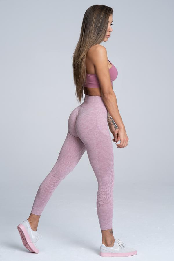 Gym Glamour Legíny Bezešvé Pink Melange, M - 4