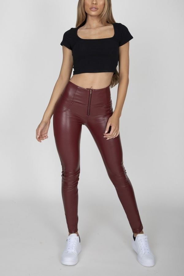 Hugz Wine Faux Leather High Waist, XL - 4