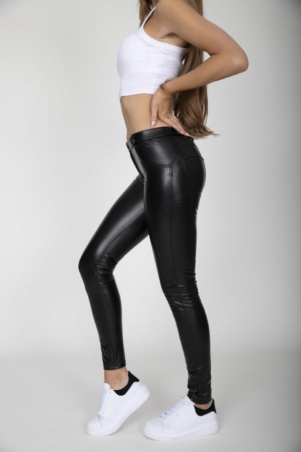 Hugz Black Faux Leather Mid Waist, M - 4