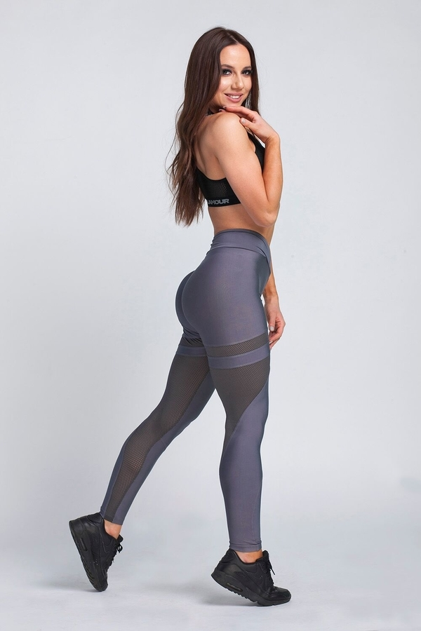 Gym Glamour Legíny Granite Grey Mesh, XS - 5