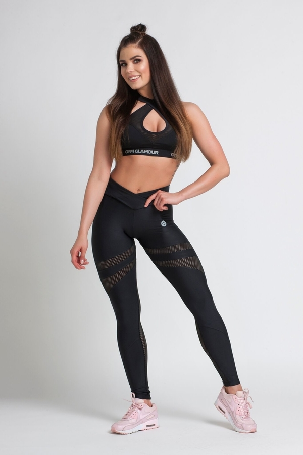 Gym Glamour Legíny Black Mesh, M - 5