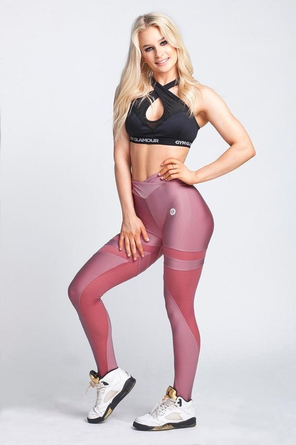 Gym Glamour Legíny Dirty Pink Mesh, XS - 5
