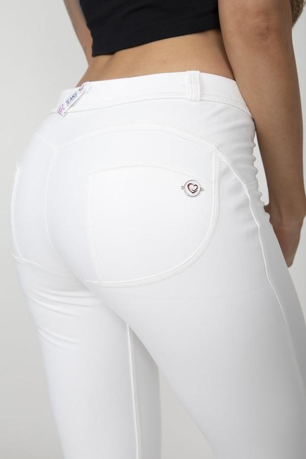 Hugz White Faux Leather Mid Waist, L - 5