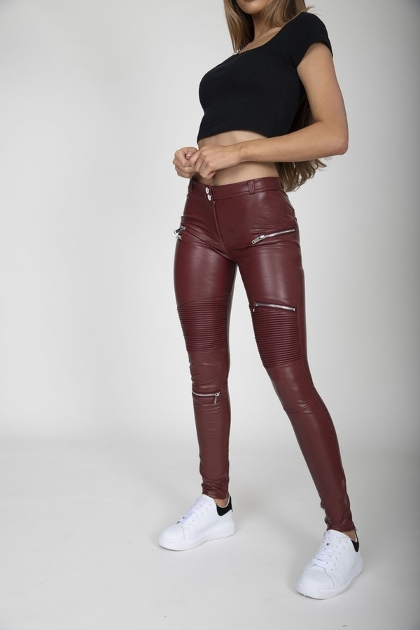 Hugz Wine Faux Leather Biker Mid Waist, S - 5
