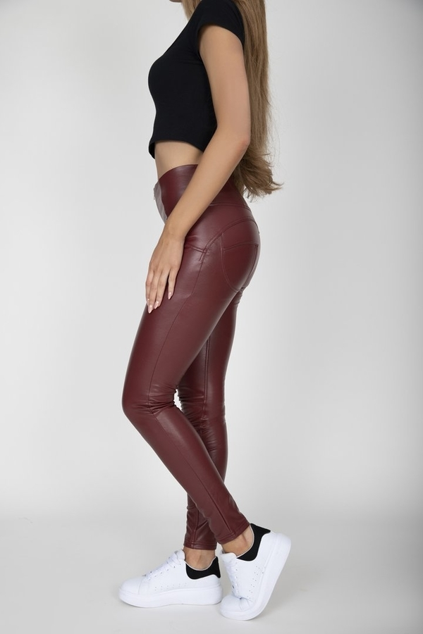Hugz Wine Faux Leather High Waist, XL - 5