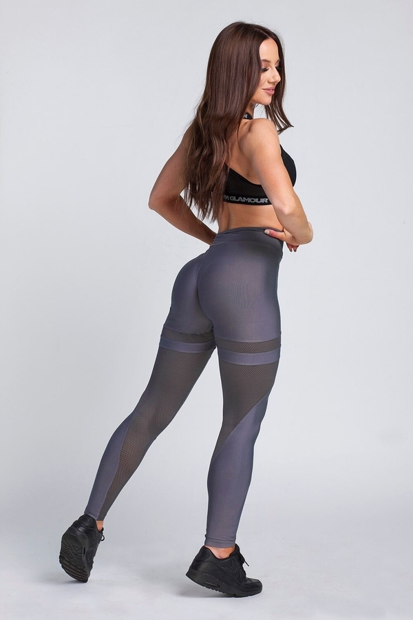 Gym Glamour Legíny Granite Grey Mesh, XS - 6