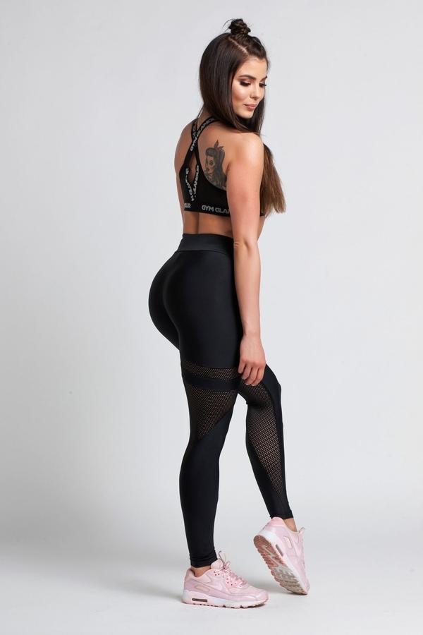 Gym Glamour Legíny Black Mesh, M - 6