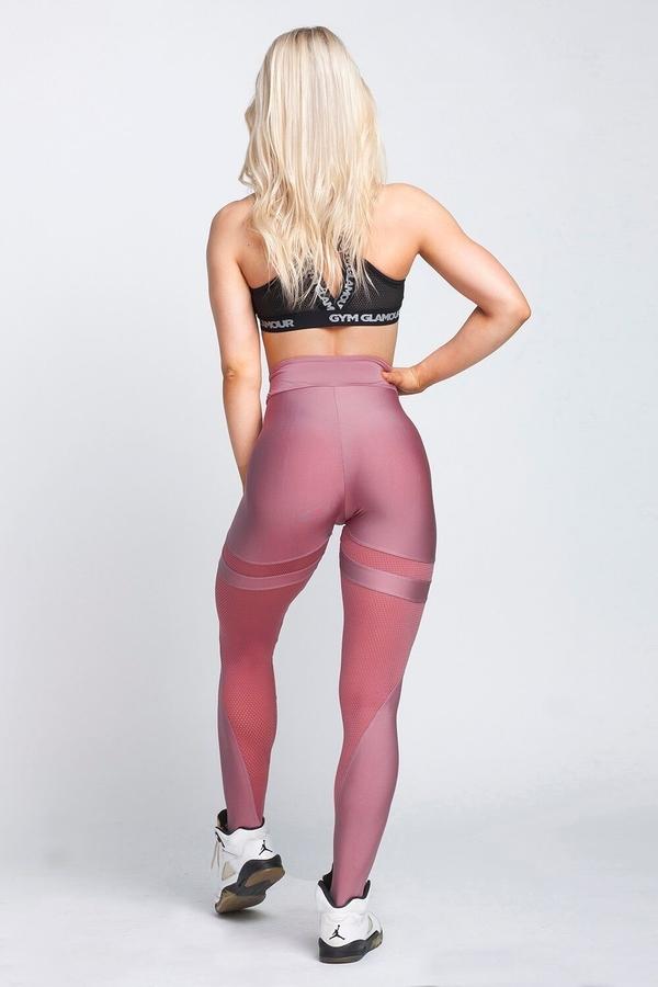 Gym Glamour Legíny Dirty Pink Mesh, XS - 6