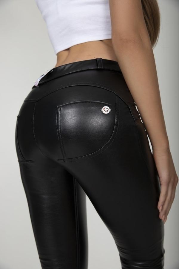 Hugz Black Faux Leather Mid Waist, M - 6