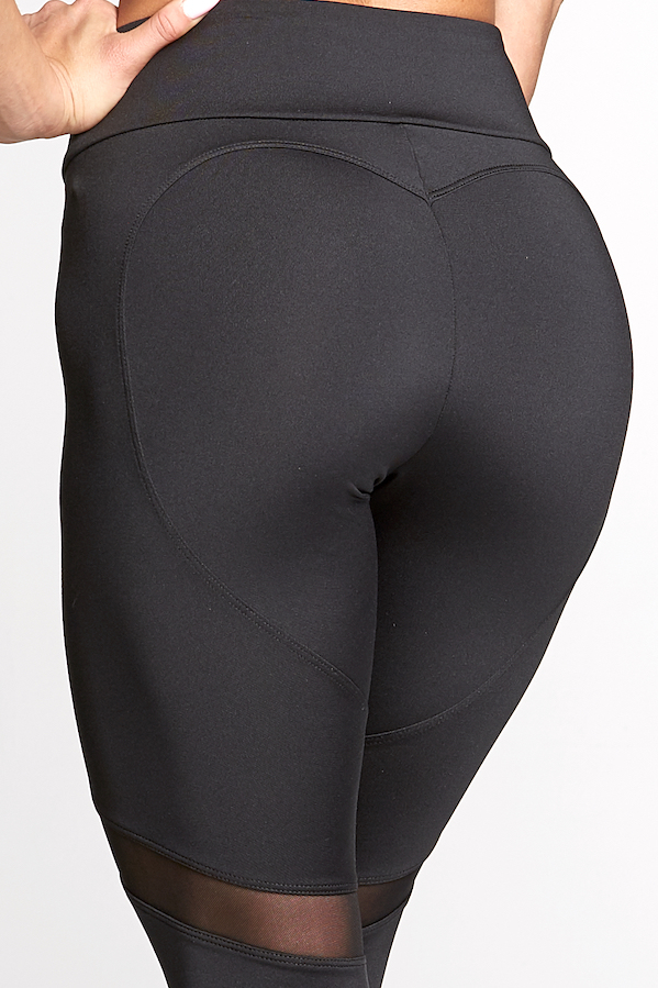 Gym Glamour Legíny Full Black Heart, L - 7