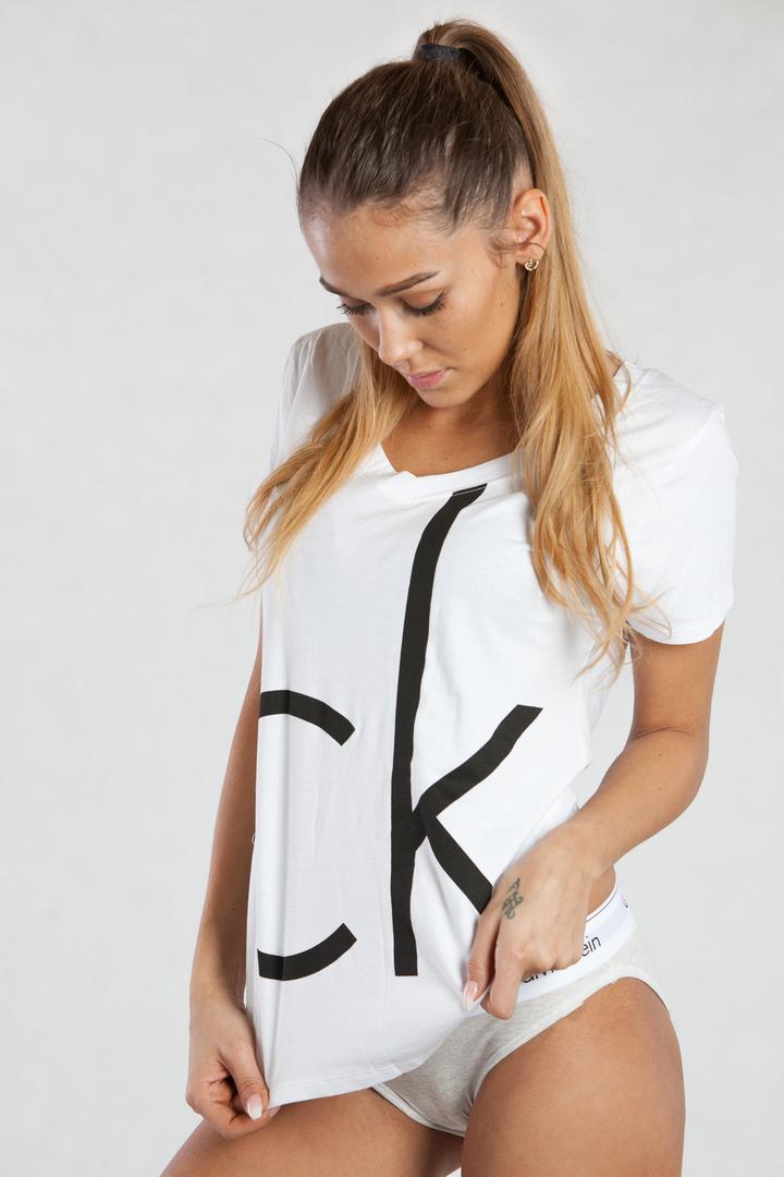 30224124f0 Calvin Klein Dámské Tričko Bílé CK - 1
